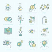 Set of flat line icons for finance — Stock Vector