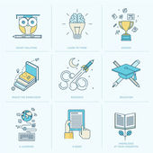 Set of flat line icons for education — Stock Vector