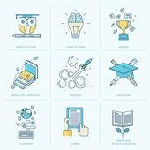Set of flat line icons for education — Stok Vektör