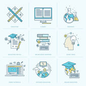 Set of flat line icons for online education — Stockvektor
