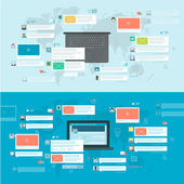 Set of flat design concepts for social network, social media, online communication — Stock Vector