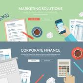 Conjunto de conceptos de diseño de planos de soluciones de marketing y finanzas corporativas — Vector de stock