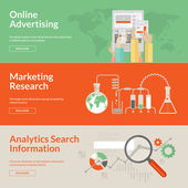 Set of flat design concepts for online advertising, marketing research and analytics search information — 图库矢量图片