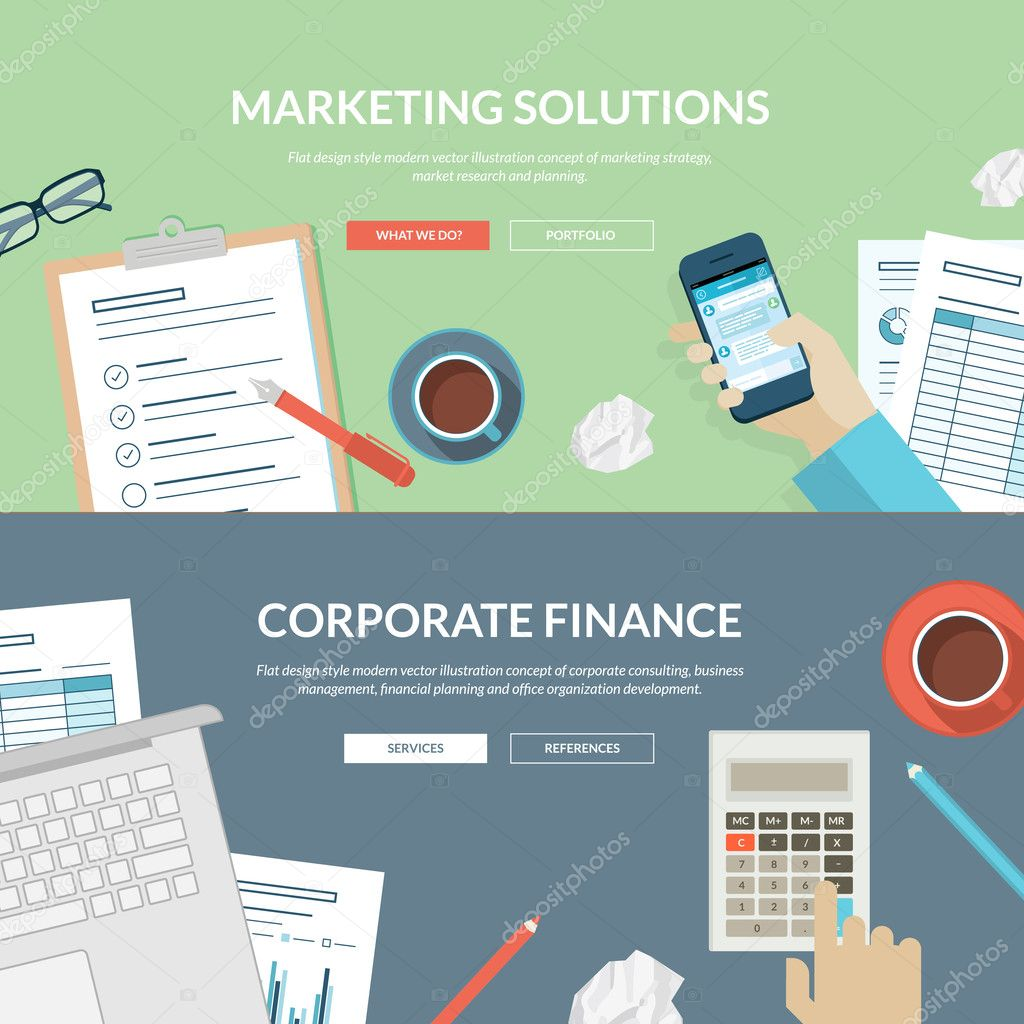 Corporate Finance: Set Of Flat Design Concepts For Marketing Solutions And
