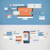 Set of flat design concepts for mobile app and website design development — Vector de stock