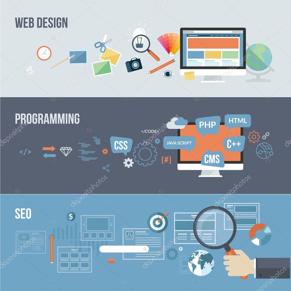 Set Of Flat Design Concepts For Web Development Stock