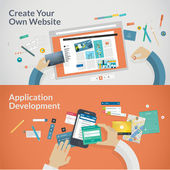 Set of flat design concepts for websites and applications development — 图库矢量图片