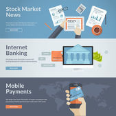 Set of flat design concepts for stock market news, internet banking and mobile payments — Stock Vector