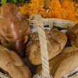 Bread on a mexican day of the dead offering altar - Stock Photo