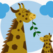 Mother and baby giraffe — Stock Vector