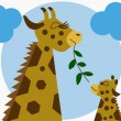 Mother and baby giraffe — Stock Vector #27137275