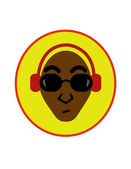 Afroamerican man with headphones — Stock Vector
