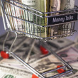 Shopping trolley full dollar bill, greenback — Stock Photo