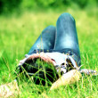 Stock Photo: Girl lies in grass