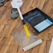 Stock Photo: Painting with primer wooden floor for waterproofing