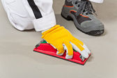 Sand paper clean cement substrate — Stock Photo