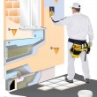 Construction worker with trowel applied plaster on 3D wall - Stock Photo