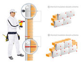 Construction worker install insulation of house — Stock Photo