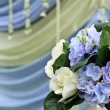 Beautiful artificial flowers arrangement for wedding ceremony in — Stock Photo