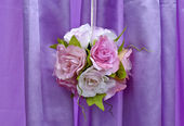 Bouquet ball decoration with purple background — Stock Photo