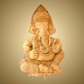 Wood carving of Ganesha isolated on white background with workin — Stock Photo