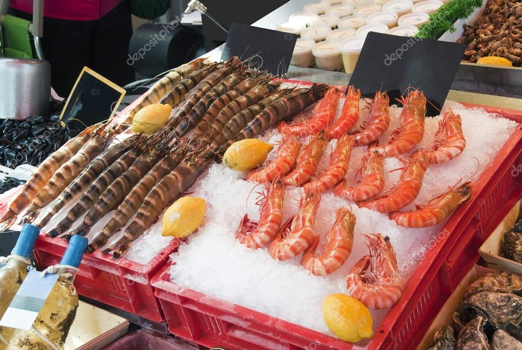 Countertop with seafood. Shrimps  Stock Photo #12062713