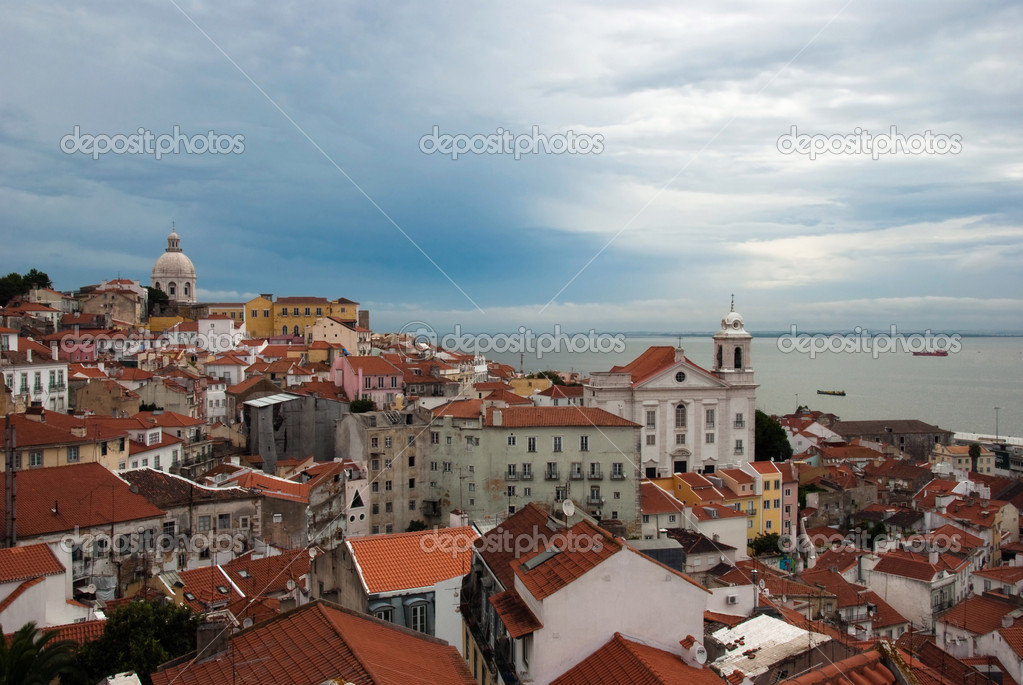 View from one of the viewpoint at Alfama district. Lisbon. — Stock Photo #12454449