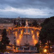 Rainy evening sky over Rome and the enlightenment over the Vatic - Stock Photo