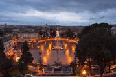 Rainy evening sky over Rome and the enlightenment over the Vatic — Stock Photo