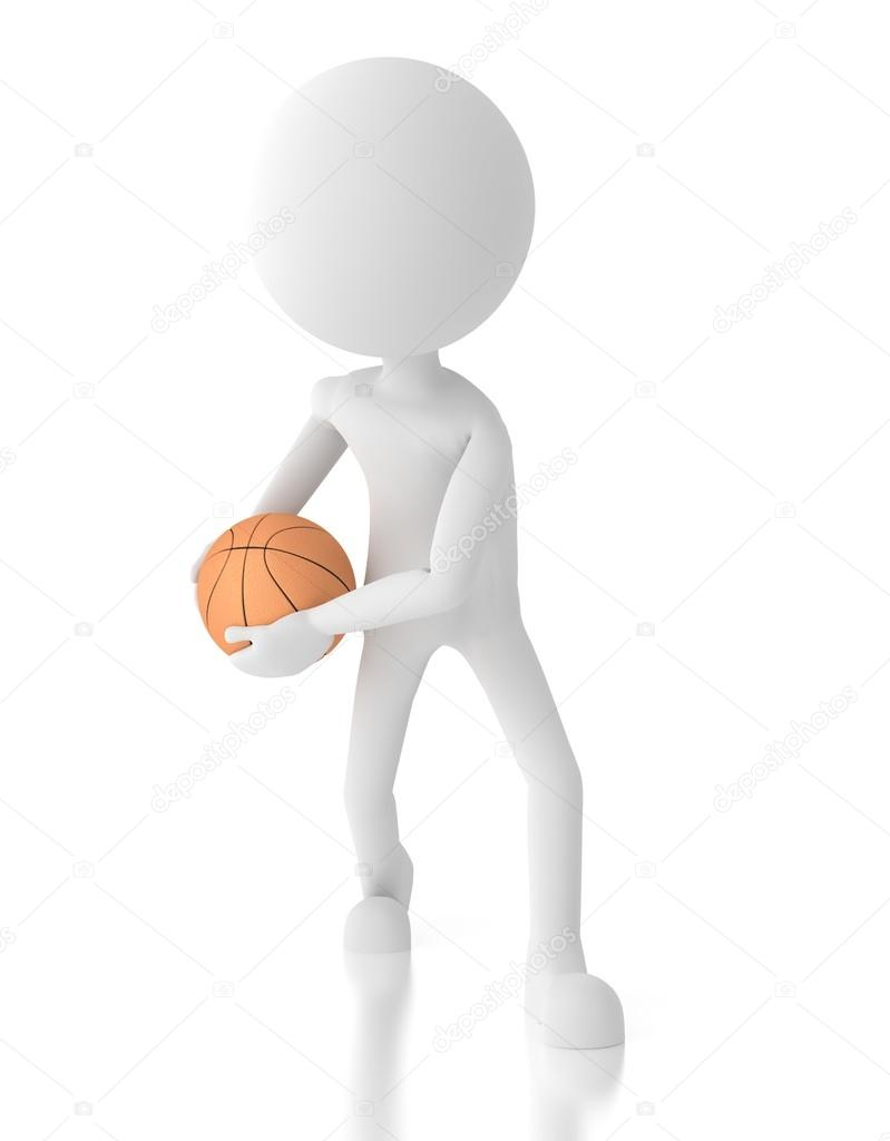 3d person basketball player holds ball in a defensive position. — Stock Photo #12048911