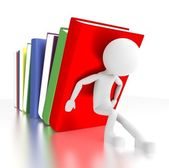 3d person supports falling books. — Stock Photo