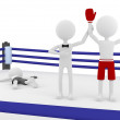 3d boxer person winning a match in a boxing ring with a referee lifting his hand — Stock Photo #12204040