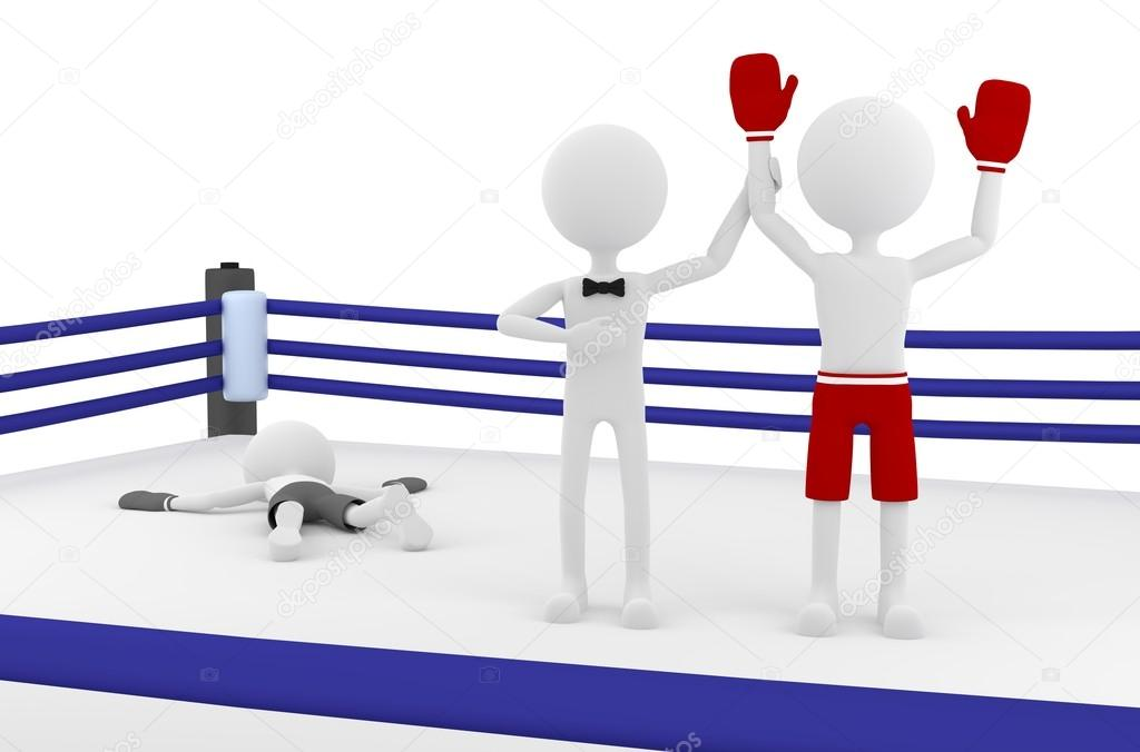 3d boxer person winning a match in a boxing ring with a referee lifting his hand. Winner and Loser. 3d illustration.  Stock Photo #12204040