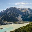 Hooker Valley and Mount Cook Panorama, Mount Cook National Park, New Zealand — Stock Photo