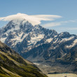 Stock Photo: Mount Cook with cloud at summit, New Zealand