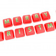 MERRY CHRISTMAS written in green on red computer keys — Stock Photo