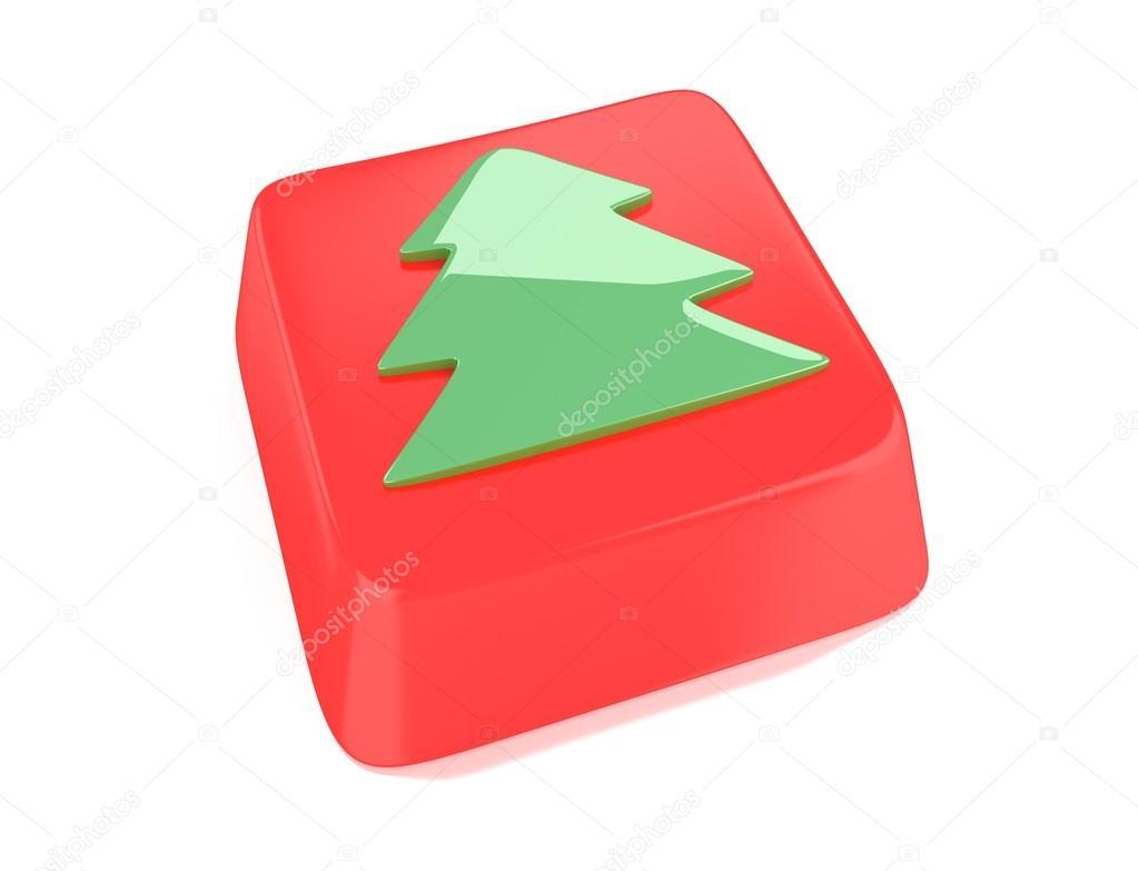 Christmas tree icon in green on red computer key. 3d illustration. Isolated background. — Stock Photo #13501708