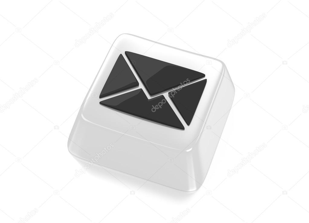 E-Mail envelope icon in black on white computer key. 3d illustration. Isolated background. — Stock Photo #13501785