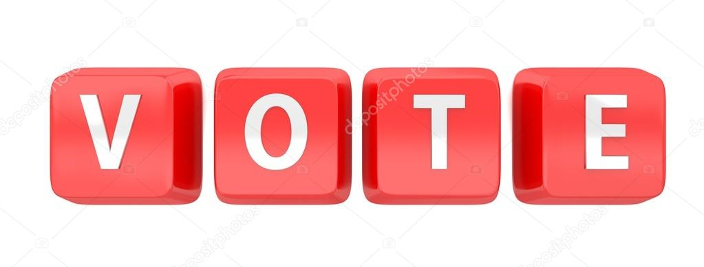 VOTE written in white on red computer keys. 3d illustration. Isolated background. — Stock Photo #13502188
