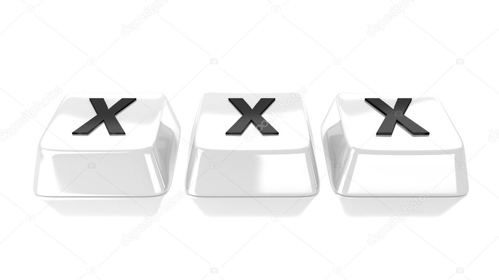 XXX written in black on white computer keys. 3d illustration. Isolated background.  Foto Stock #13502209