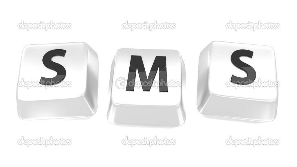 SMS written in black on white computer keys. 3d illustration. Isolated background. — Stockfoto #13663718