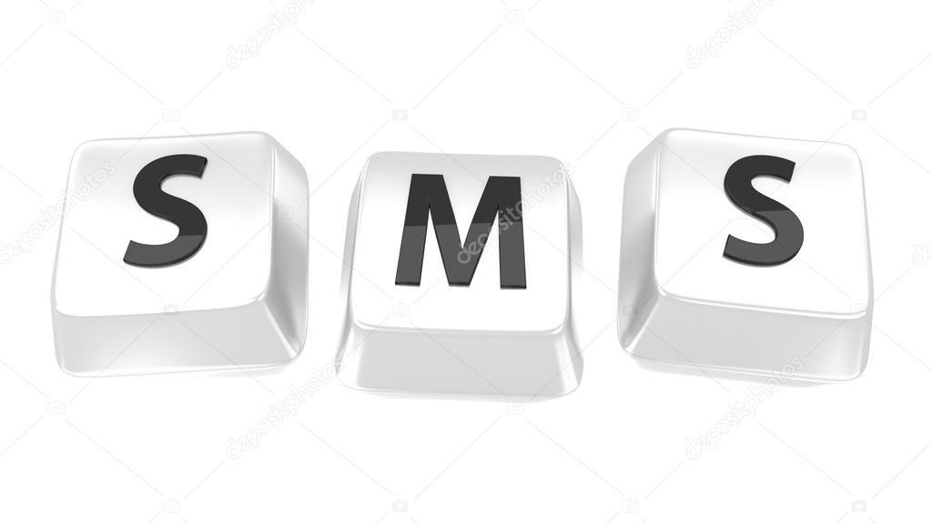 SMS written in black on white computer keys. 3d illustration. Isolated background.  Zdjcie stockowe #13663718