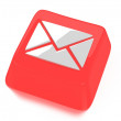 E-Mail envelope icon in white on red computer key. 3d illustration. Isolated background. — Stock Photo