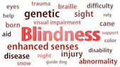 Blindness title surrounded by blurred words of context. Titles concept. 3d illustration. — Stock Photo
