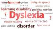 Dyslexia title surrounded by blurred words of context. Titles concept. 3d illustration. — Stock Photo