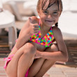 Little girl in swimsuit — Foto Stock
