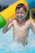 Little boy at aqua park — Stock Photo