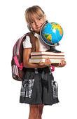 Petite fille avec des livres — Photo