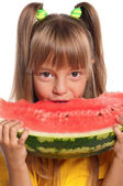 Little girl with watermelon — Stock Photo