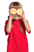 Little girl with lemon — Foto de Stock